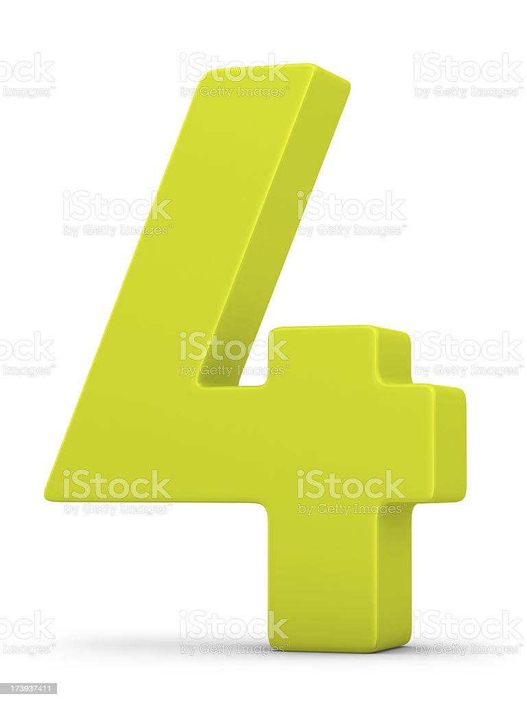 green number 4 stock photo