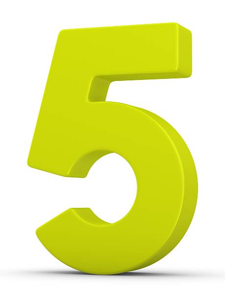 green number 5 stock photo