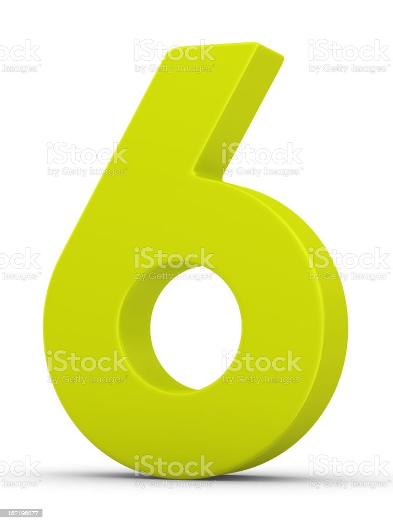 green number 6 stock photo
