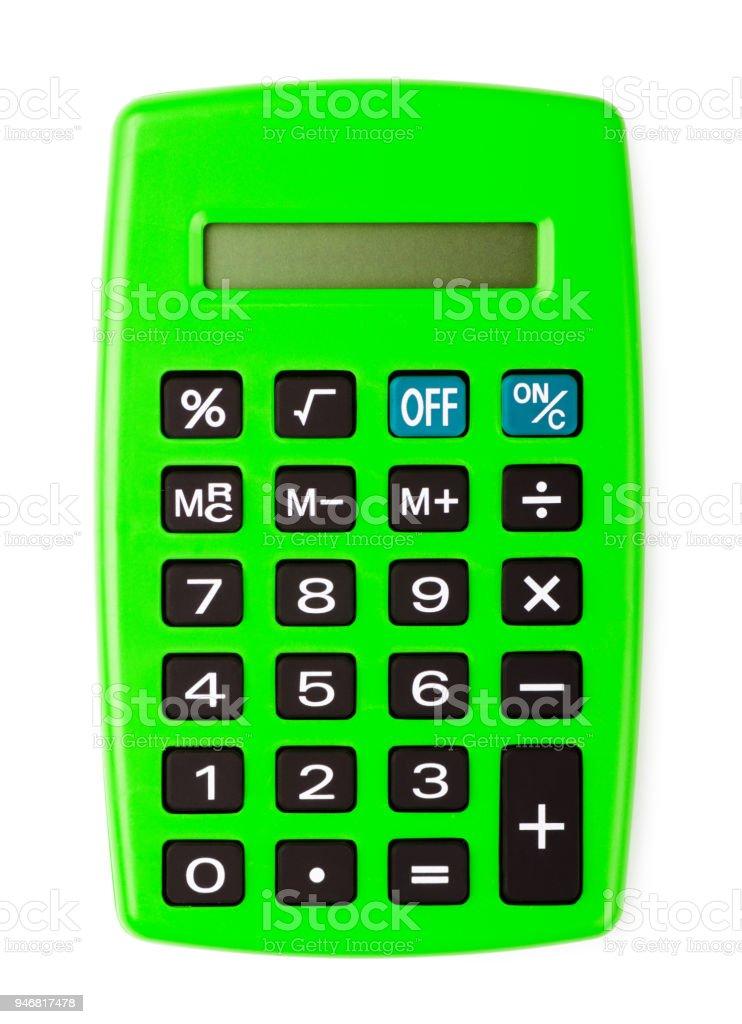Green office calculator stock photo