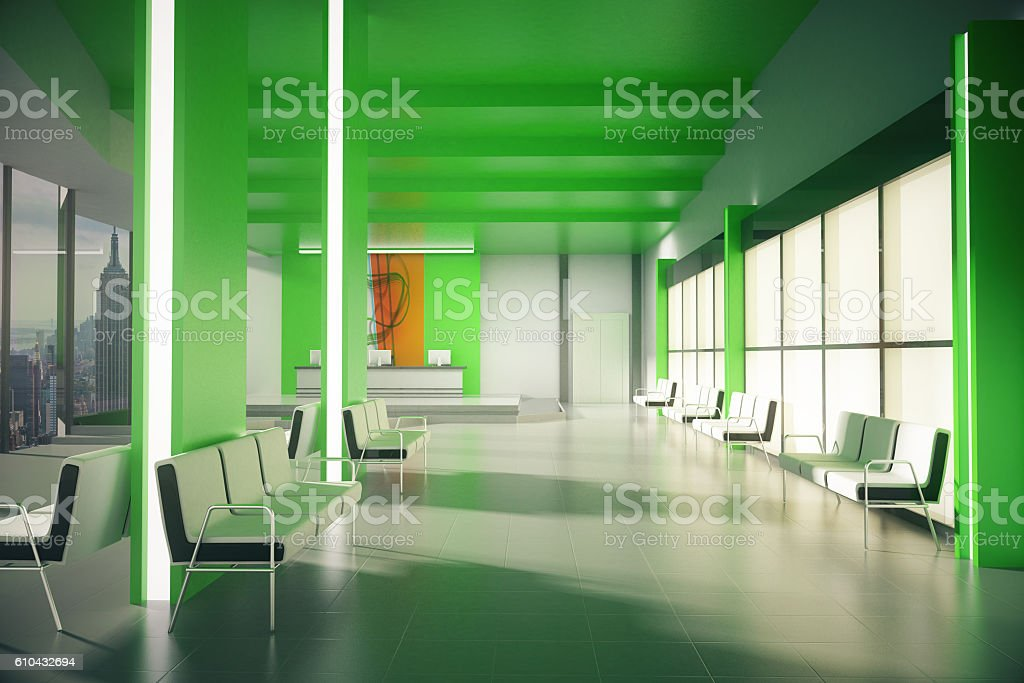 Green office lobby with NY view – Foto