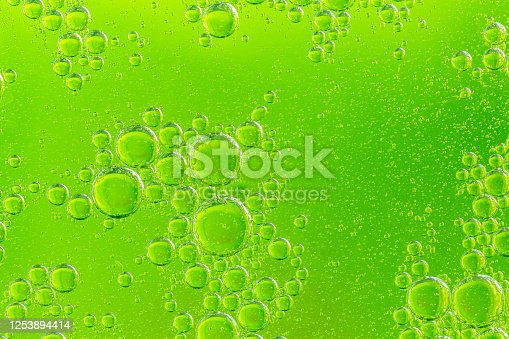 Green bubbles in a green background.