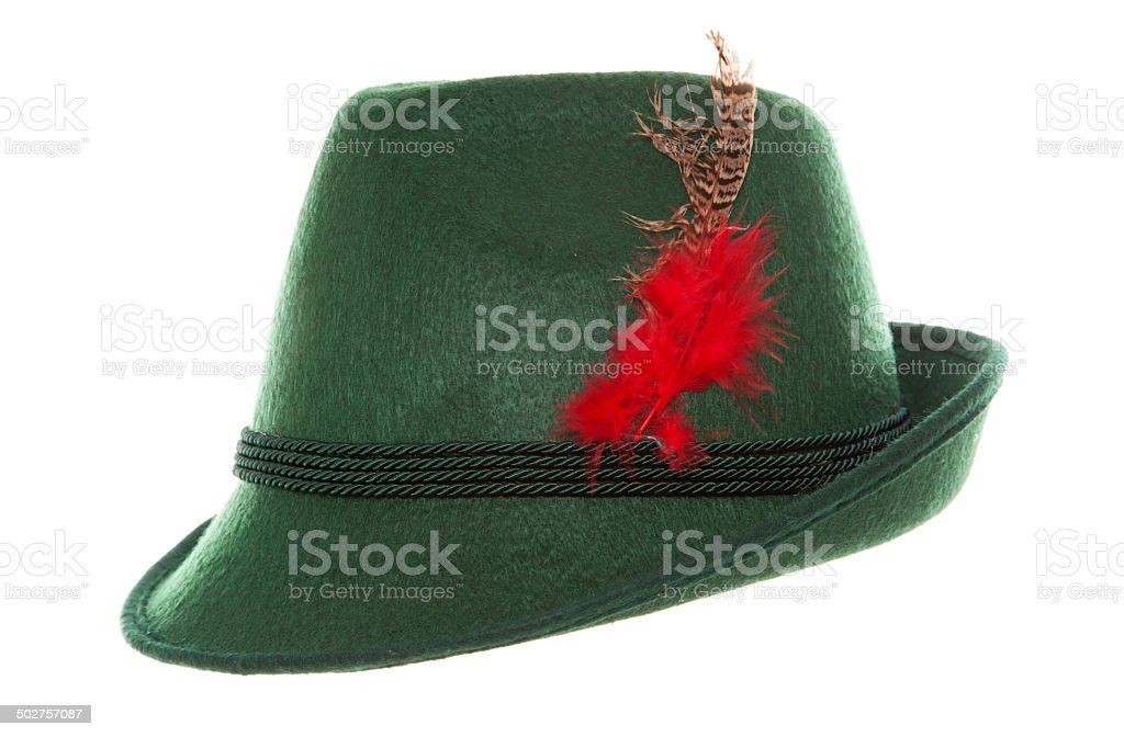 Green Oktoberfest bavarian hat stock photo
