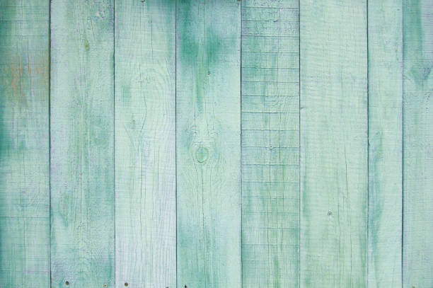 green old wooden fence. wood palisade background. - palisade boundary stock photos and pictures