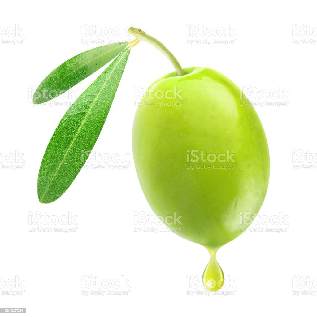 Azeitona verde com uma gota de óleo - foto de acervo