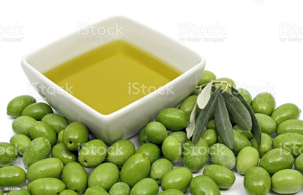 Green olives and olive oil royalty-free stock photo