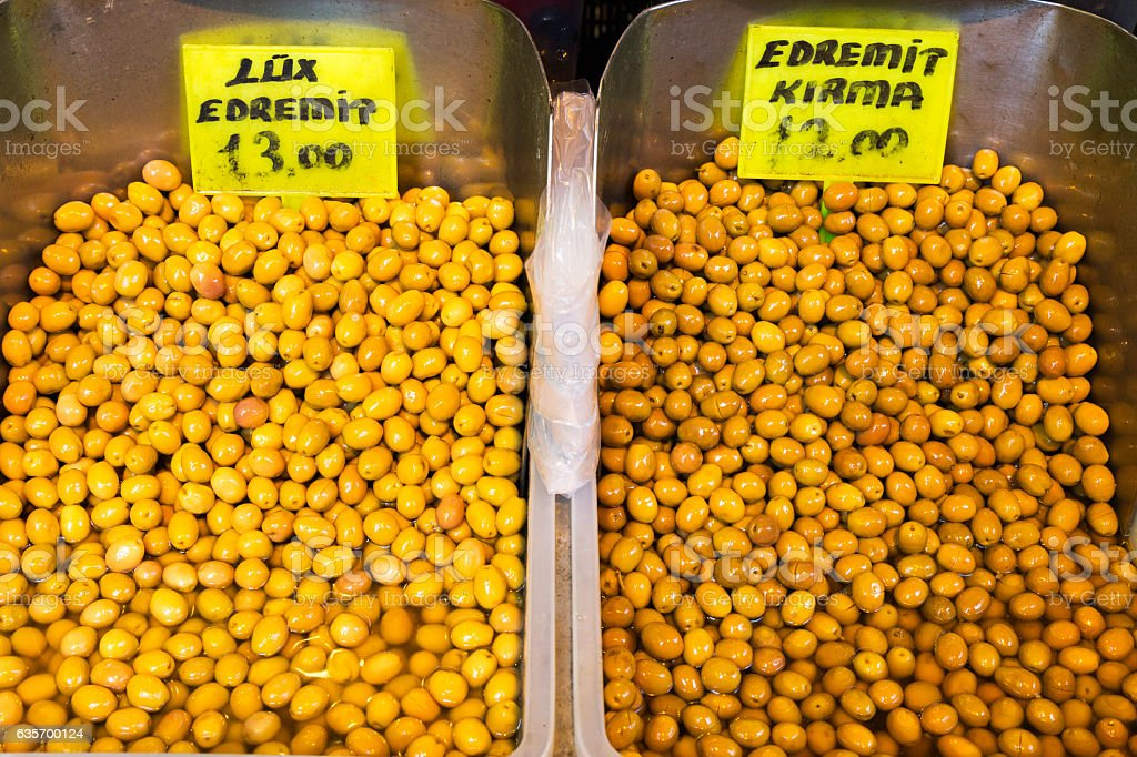 Green olives at the market royalty-free stock photo