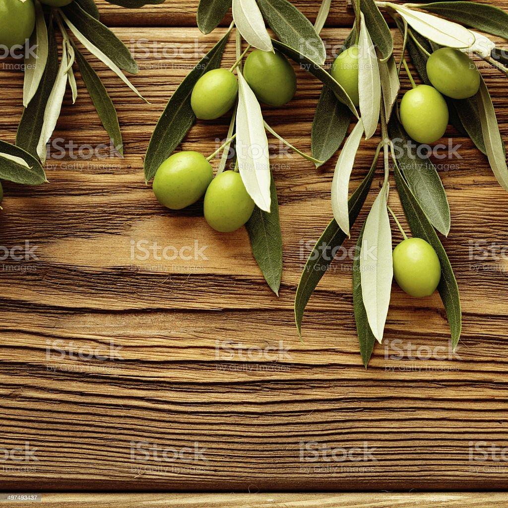 green olives frame background stock photo