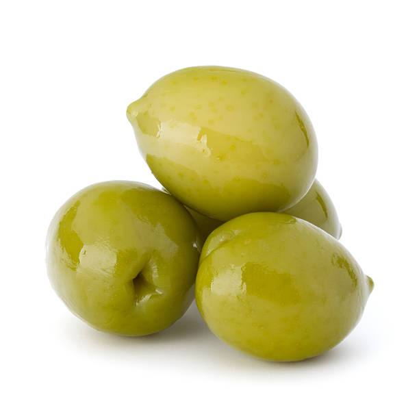 green olives fruits isolated on white background cutout - grüne olive stock-fotos und bilder