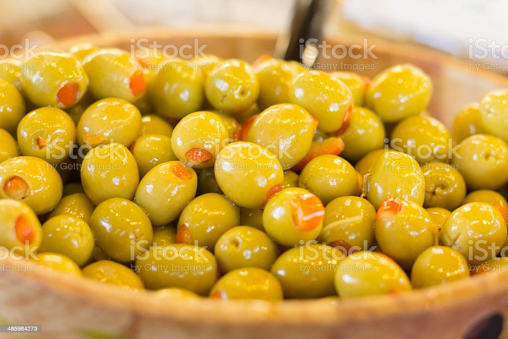 Green Olives in Borough Market, London royalty-free stock photo