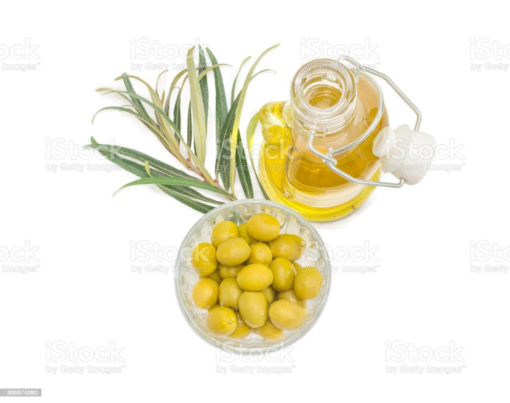 Green olives, olive oil and olive branch stock photo