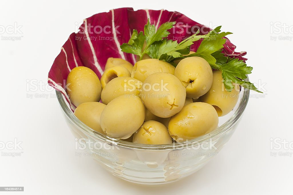 green olives, pitted royalty-free stock photo