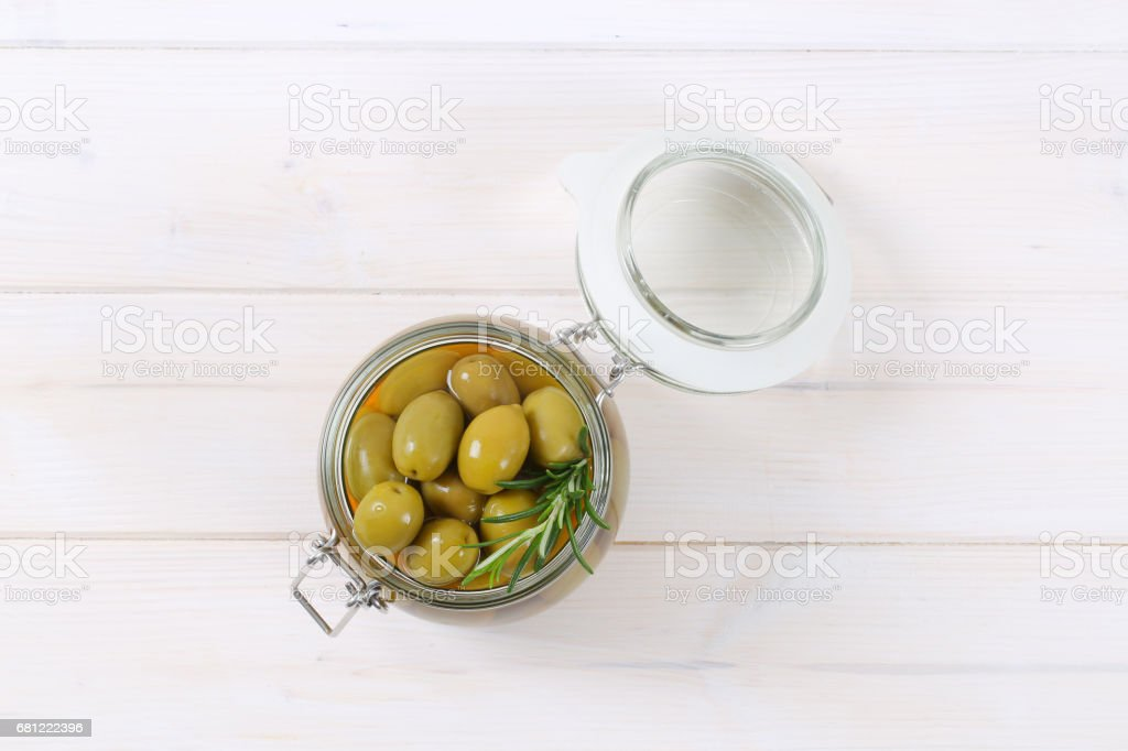 green olives with rosemary royalty-free stock photo