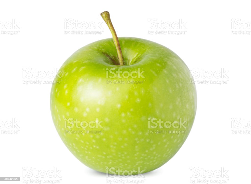 Manzana madura uno verde aislada sobre fondo blanco foto de stock libre de derechos