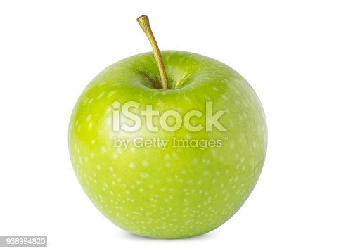istock Green one ripe apple isolated on white background 938994820