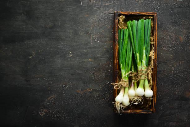 Cebola verde em uma tabela de madeira. Legumes frescos. Vista de cima. Espaço livre para o texto. - foto de acervo