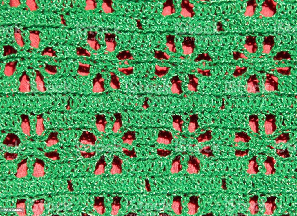 green openwork handmade knitted pattern stock photo