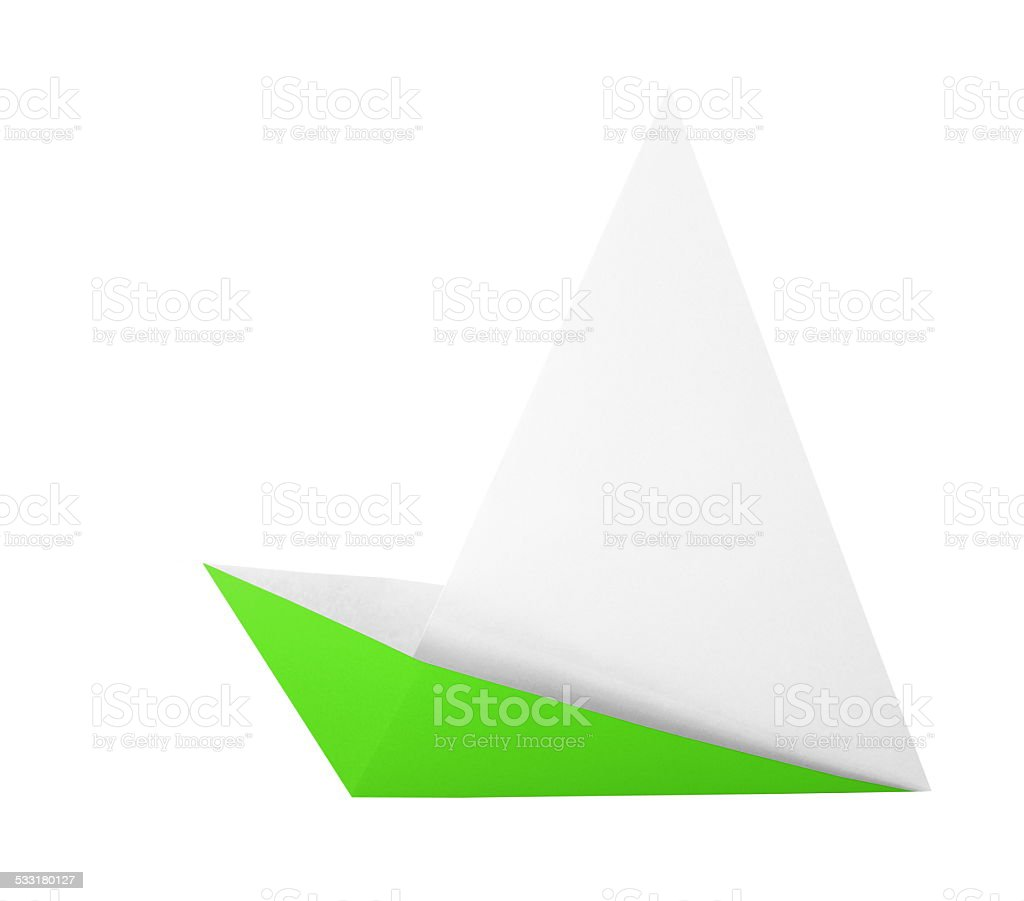 green origami boat stock photo