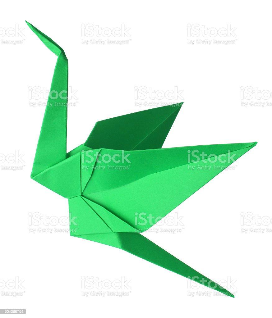 Origami Swan T 3d Diagram Http Howtoorigamicom Origamiswanhtml Green Crane Royalty Free Stock Photo