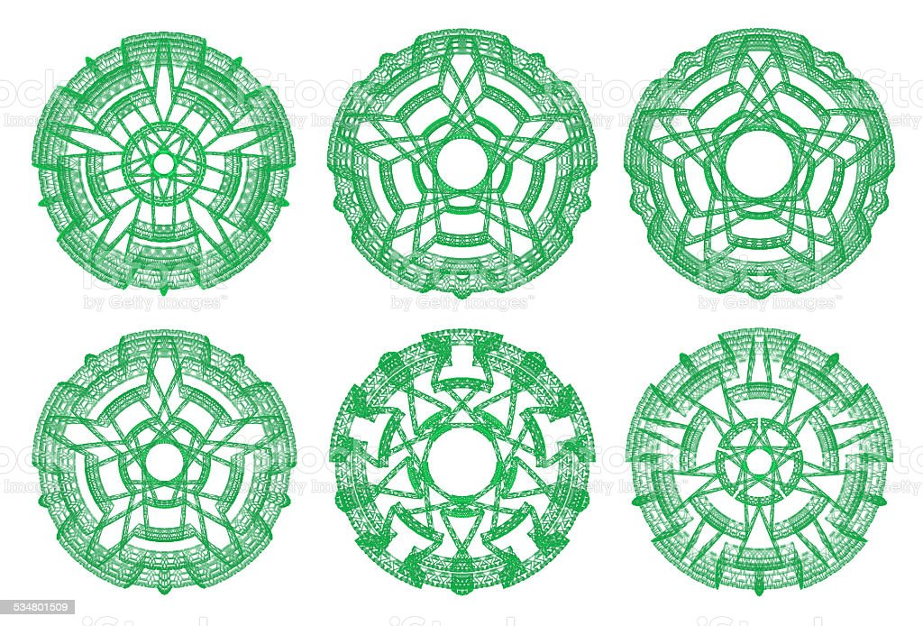 Green ornamental graphical abstract round lace collection stock photo