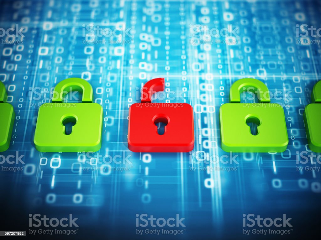 Green padlock icons and red padlock on binary code royalty-free stock photo