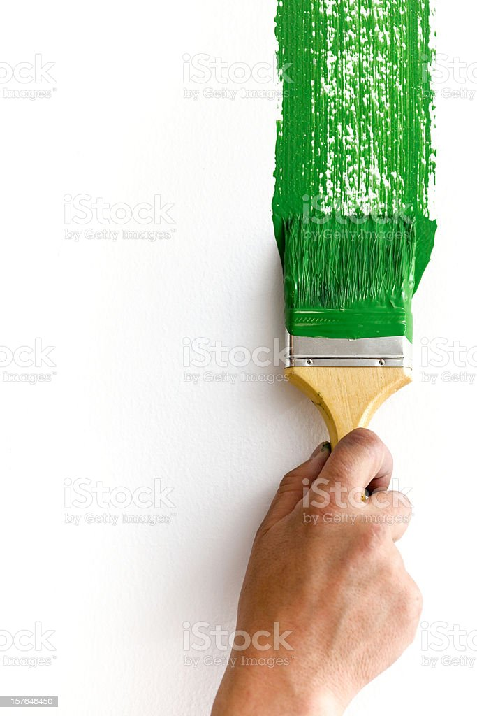Green paint and brush royalty-free stock photo