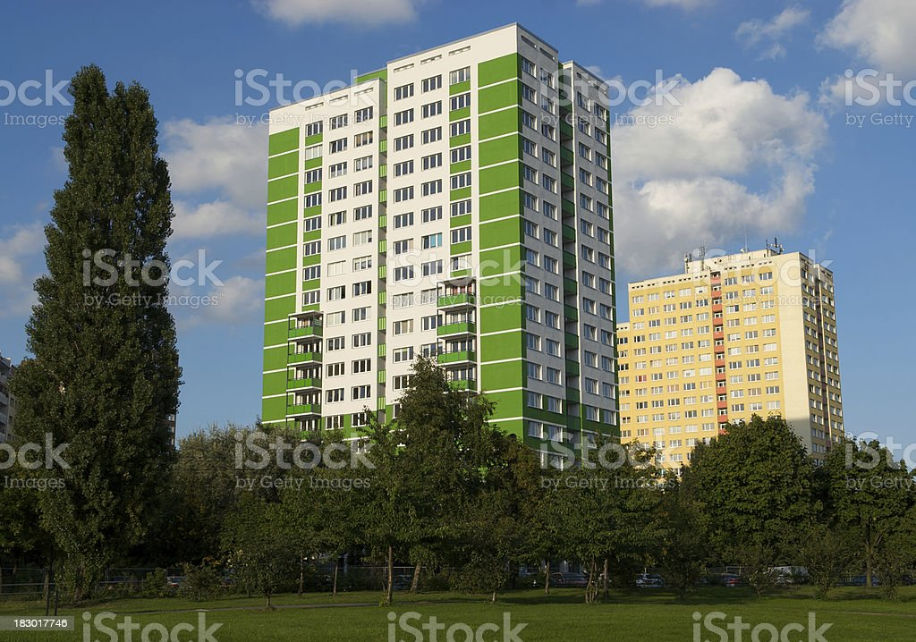 green painted building, marzahn, berlin stock photo