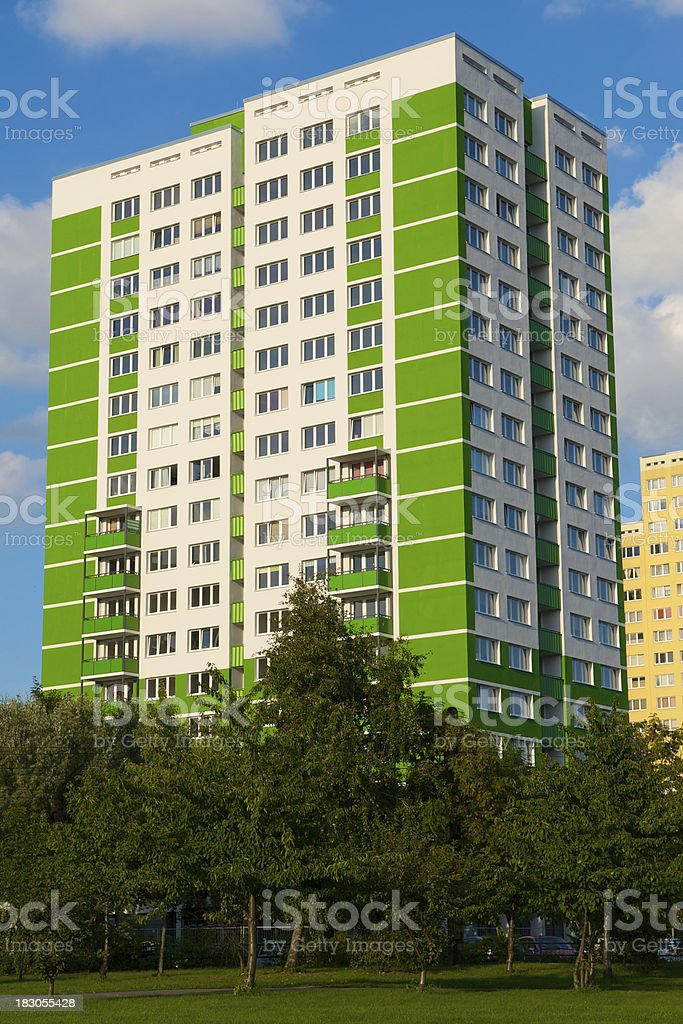 green painted building, marzahn, berlin royalty-free stock photo