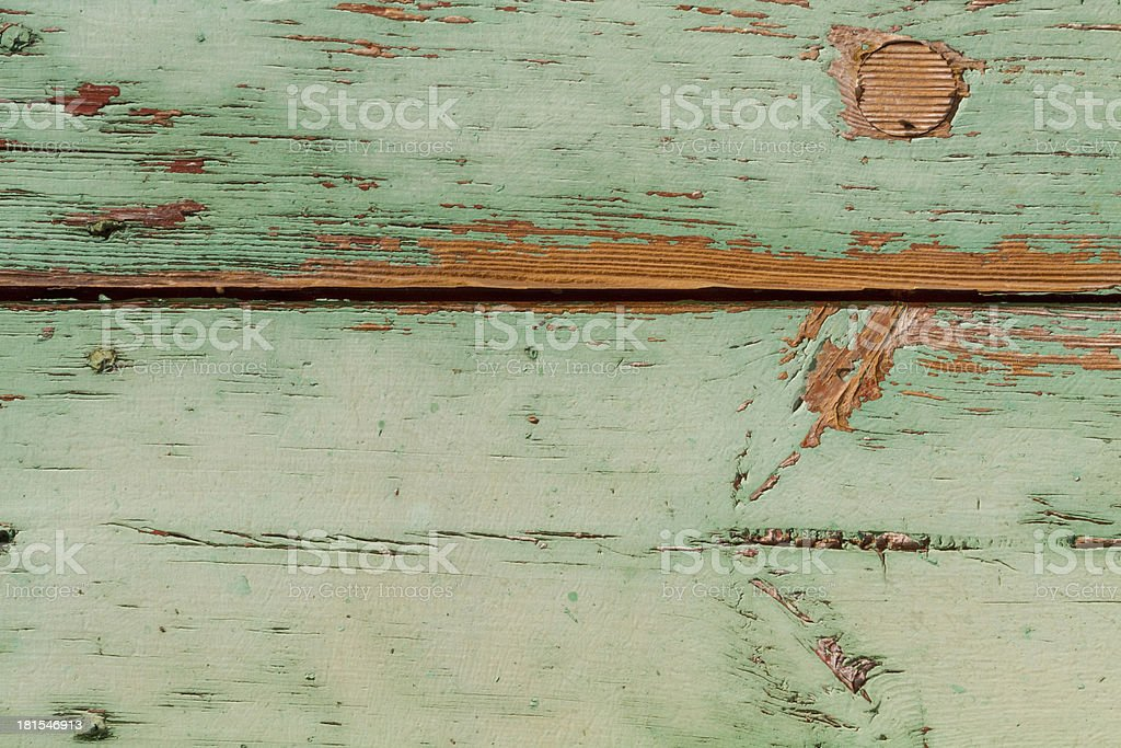 Green painted wooden surface very used royalty-free stock photo