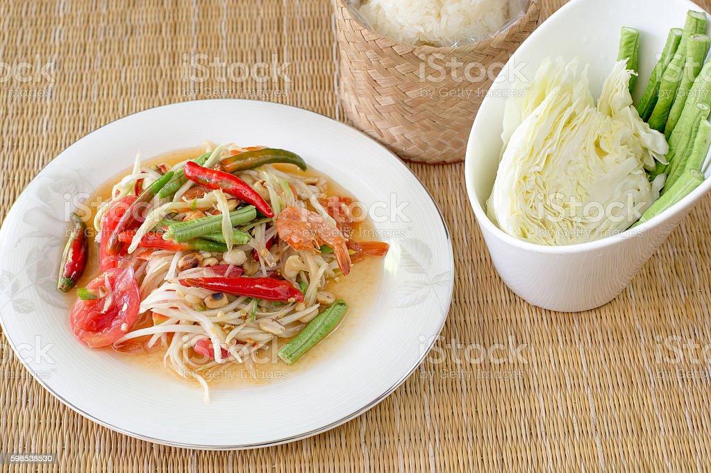Green papaya salad dried salted prawn photo libre de droits