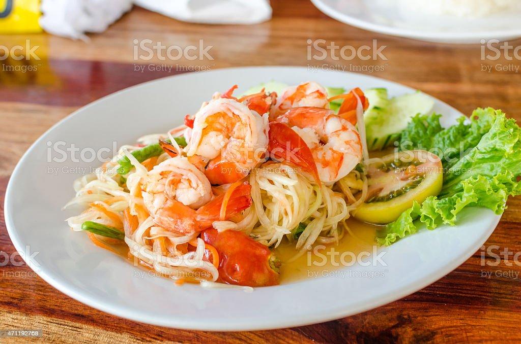 Green papaya salad (Som Tum) with shrimp stock photo