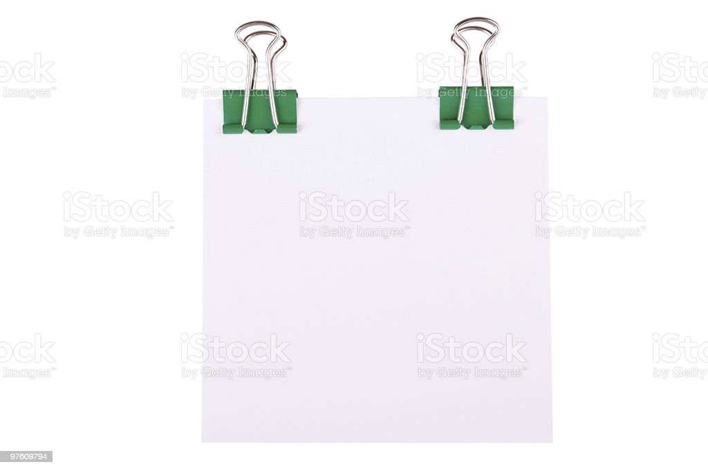 Green paperclip with note paper royalty-free stock photo