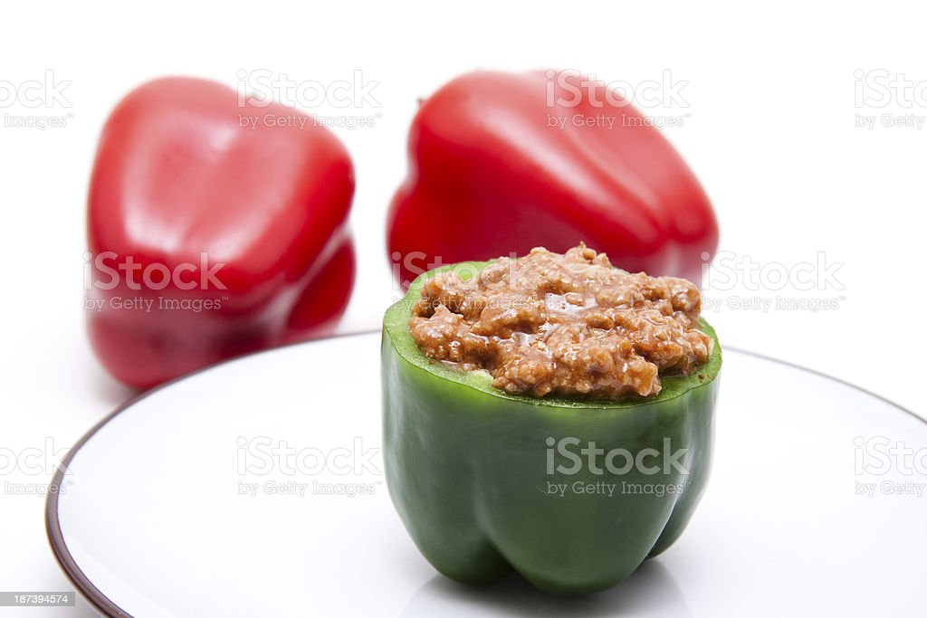 Green paprika with minced meat stock photo