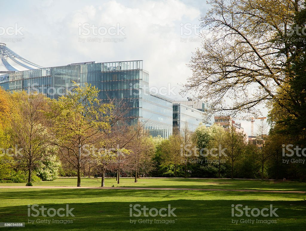 green park at spring season in Berlin financial centre, Germany royalty-free stock photo