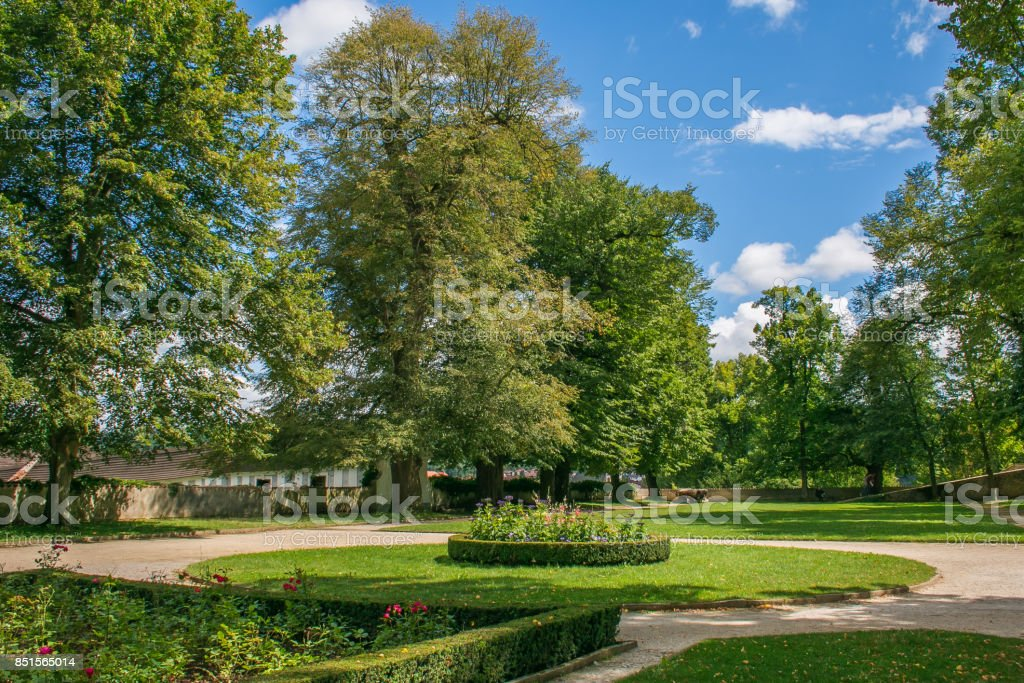 Green park in the center of Cesky Krumlov stock photo