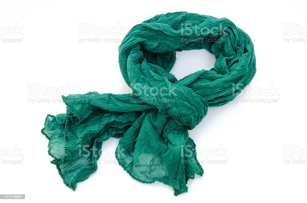 Pashmina verde de tela rugosa stock photo