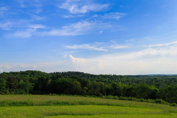 Green pasture and sunny day in Hudson Valley NY over looking mountains stock photo