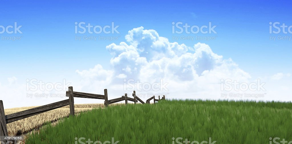 Green Pastures With Fence stock photo