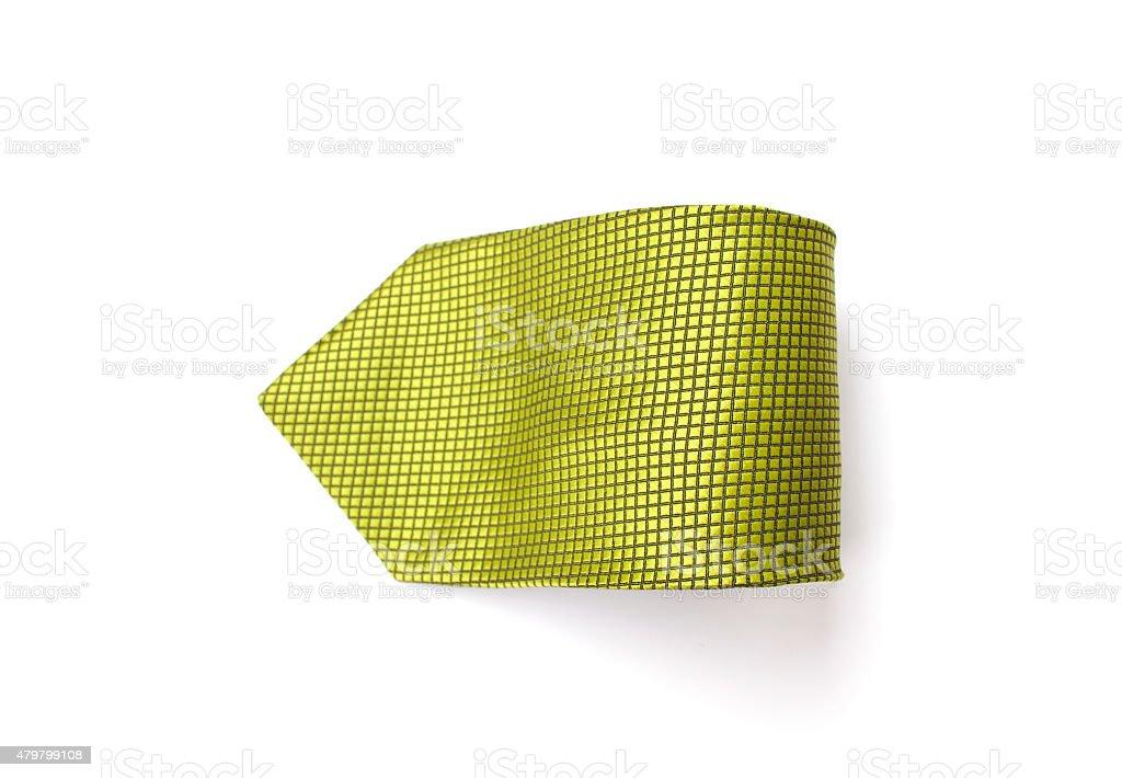 Green pattern necktie on white background stock photo