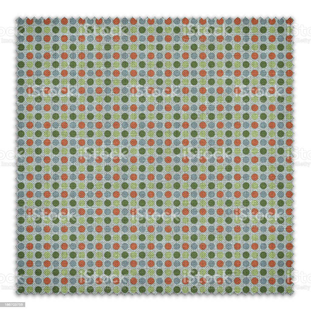 Green Patterned Fabric Swatch (Clipping Path) royalty-free stock photo