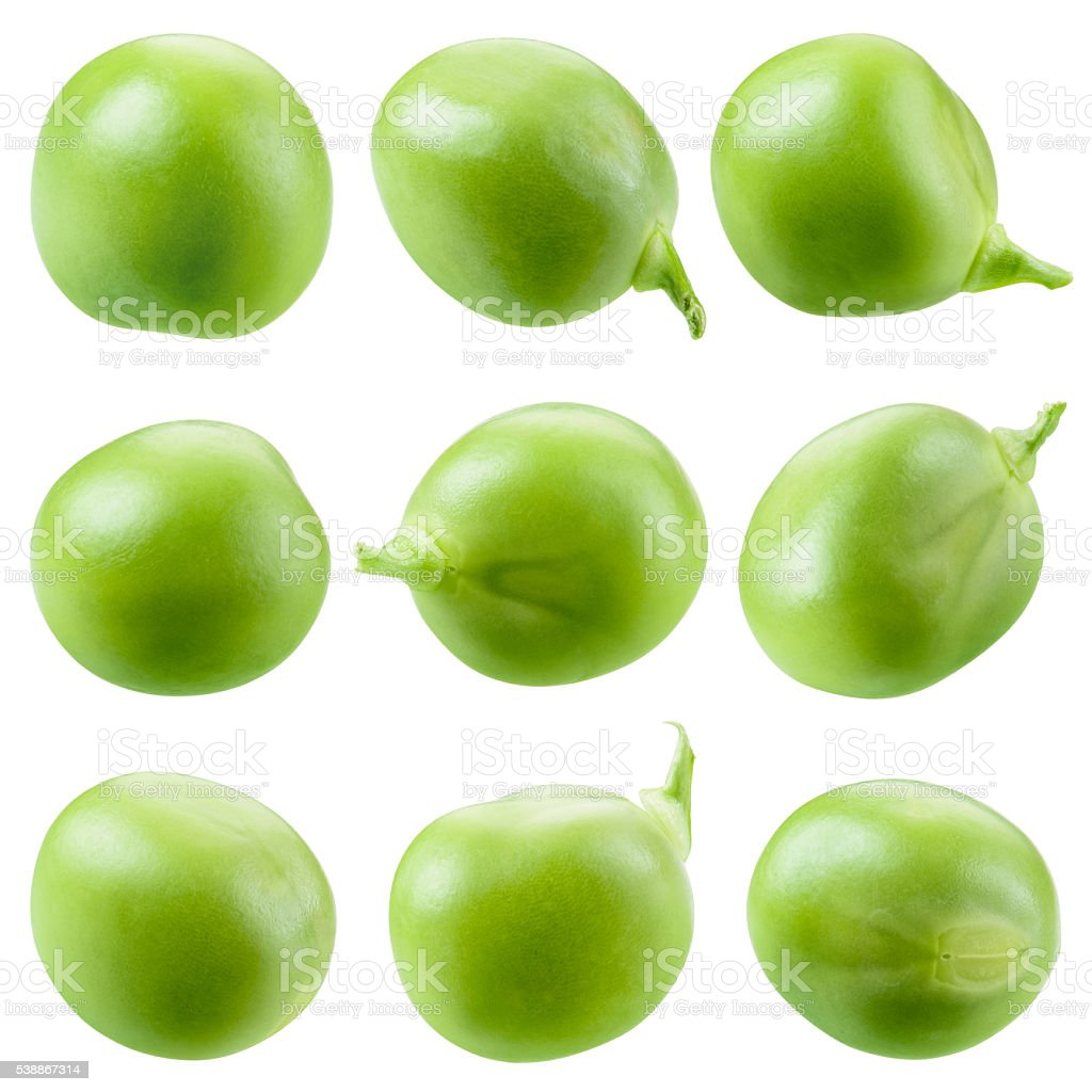 Green pea isolated on white. Collection. stock photo