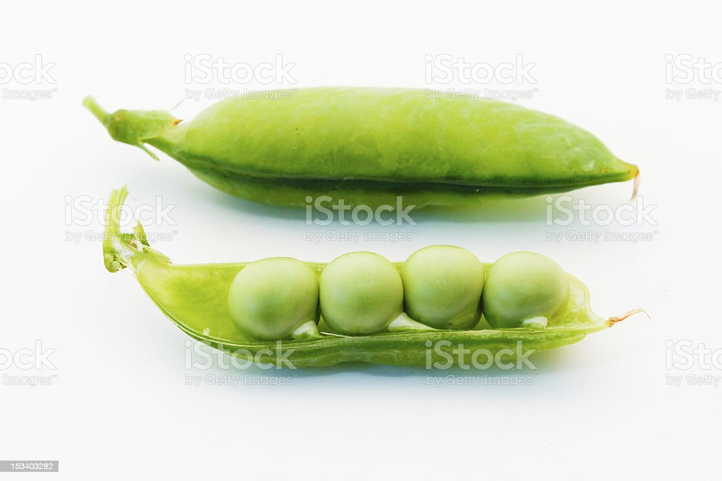 Green Pea Pods Peeled and Whole stock photo