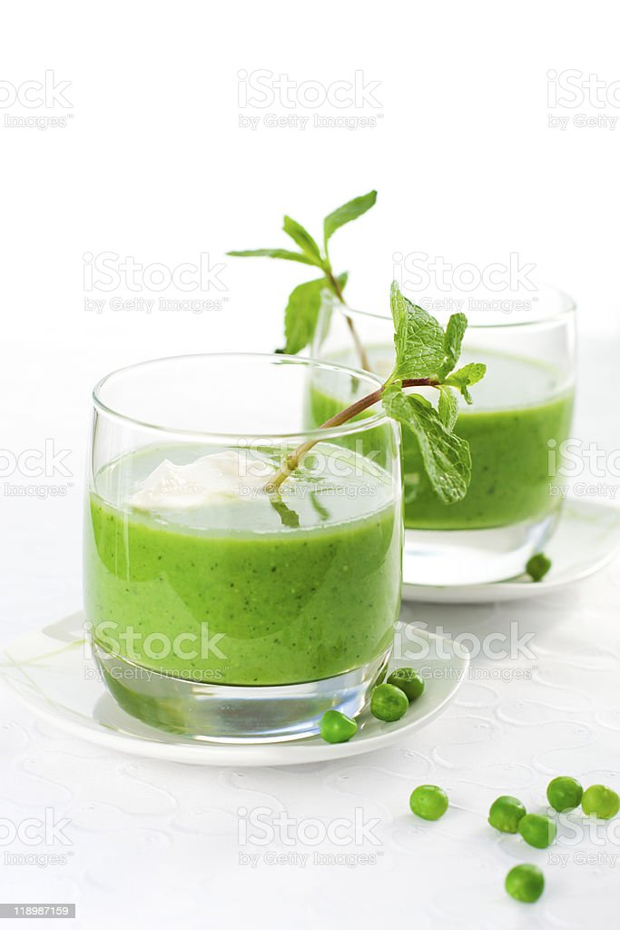 green pea soup cream stock photo