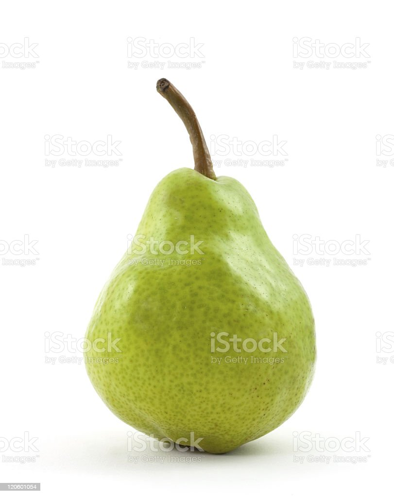 Green pear isolated on white background stock photo