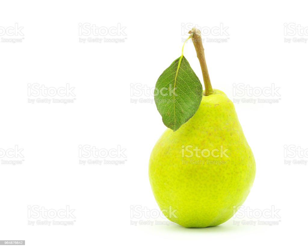green pear with leaf royalty-free stock photo