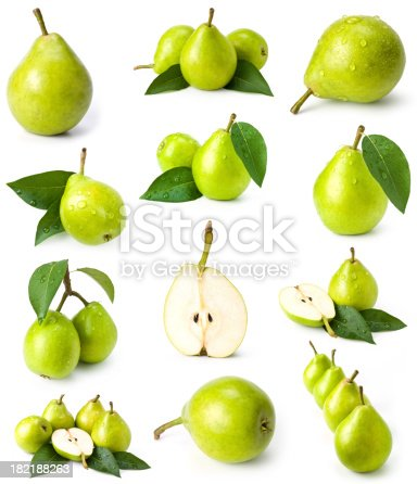 green pears collection on white