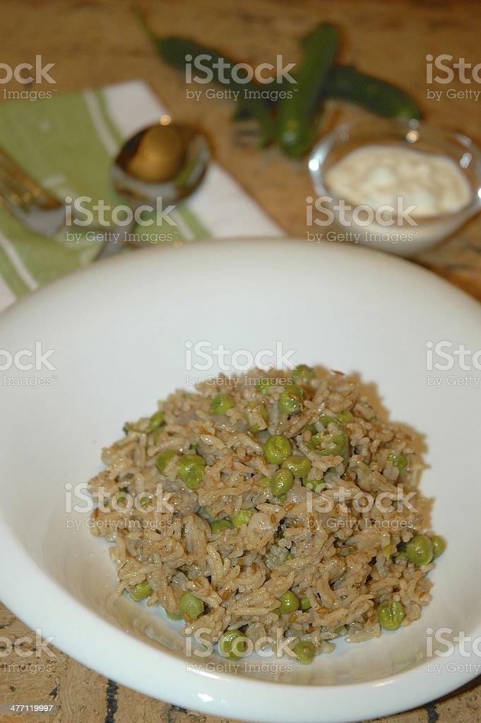 Green Peas Pilaf Rice royalty-free stock photo
