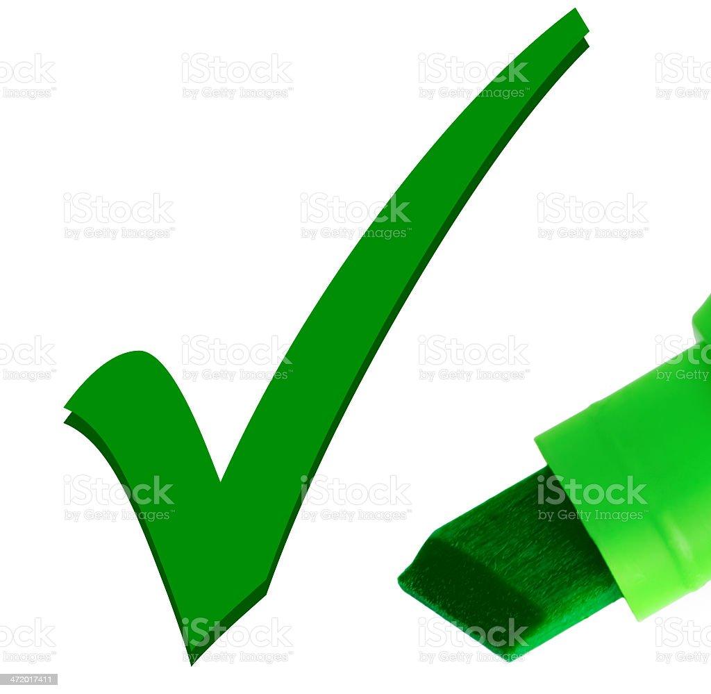 Green pen checking OK tick mark, large detailed macro closeup stock photo