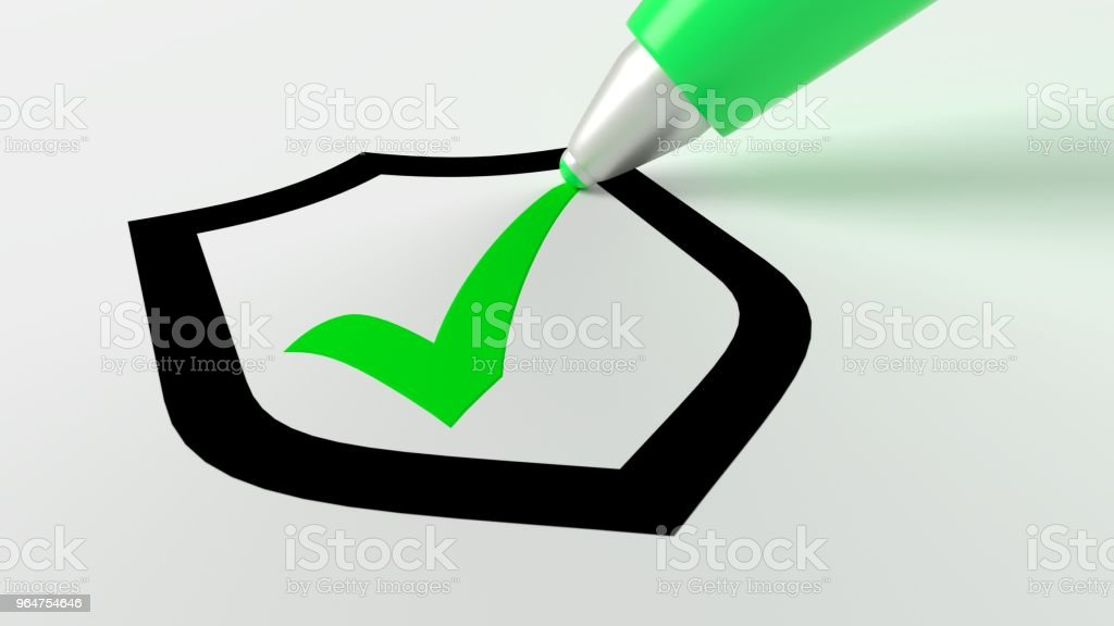 Green pen setting a checkmark in a black shield symbol royalty-free stock photo
