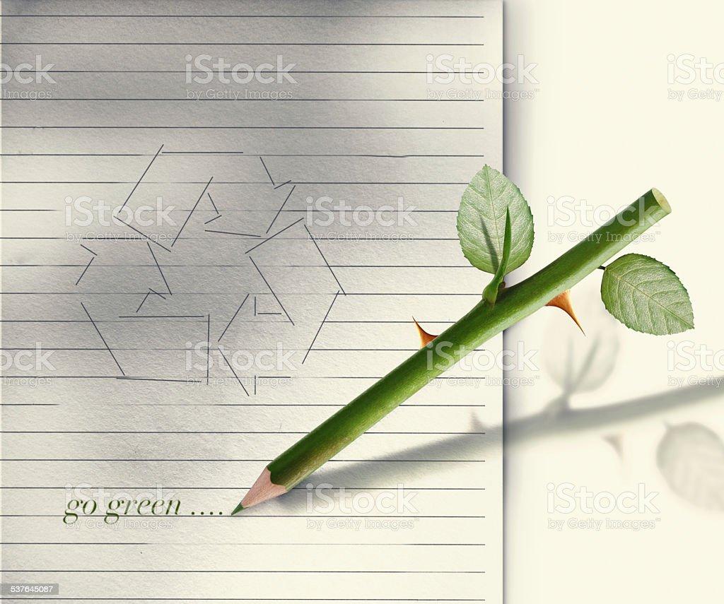 Green pencil stock photo